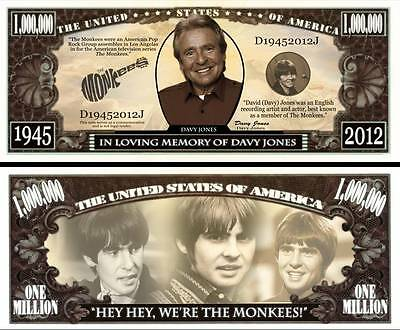 IN MEMORY OF DAVY JONES FROM THE MONKEES DOLLAR BILL IN  A PROTECTIVE SLEEVE