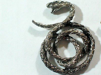 Vintage Snake Coiled Metal Badge Pin X-Lg (choice of 1-silvertone or Brassy gold