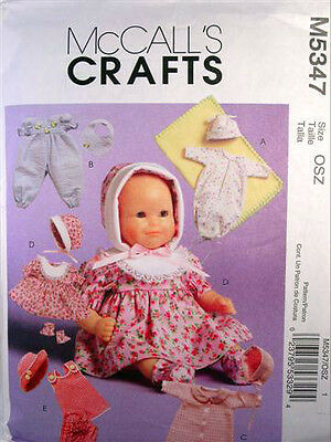 "PATTERN M5347 BABY DOLL CLOTHING OUTFITS FOR 11-13"" AND 14-16"" DOLLS & BLANKET"