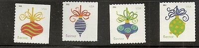 2011 Holiday Baubles 4 singles 4579-4582 from ATM pane of 18