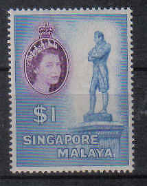 STAMPS  from  SINGAPORE   QUEEN ELIZABETH   $1.-  (MLH)  lot 870