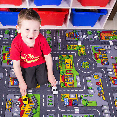 Large Colourful Kids Village Town Rug City Car Roads Activity Play Mats Rugs UK