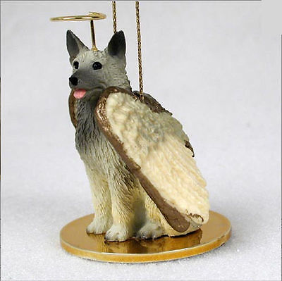 Norwegian Elkhound Dog Figurine Ornament Angel Statue Hand Painted