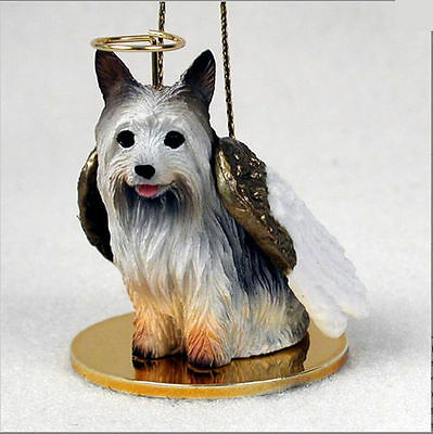 Silky Terrier Dog Figurine Ornament Angel Statue Hand Painted