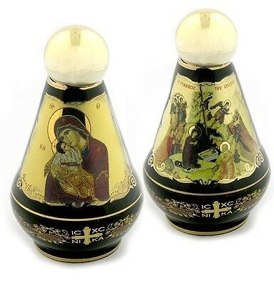 Greek Icon 24kt Gold Hand Made Holy Water Bottle Container Nativity Madonna