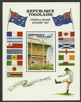 TOGO 1987 RUGBY WORLD CUP Souvenir Sheet  MNH