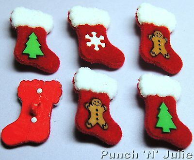 RED FELT STOCKINGS - Christmas Santa Tree Snowflakes Dress It Up Craft Buttons