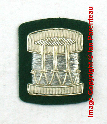 EBCB# 015 Silver Embroidered DRUM on Green Sew On Insignia Patch / Badge