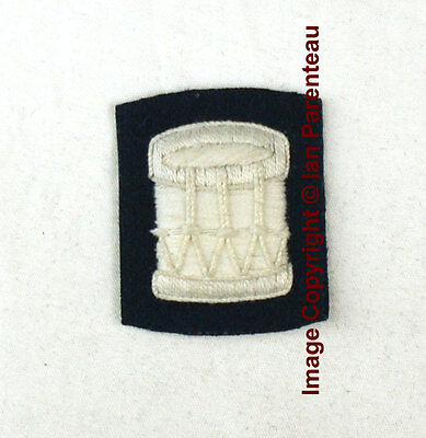 EBCB# 079 WHITE Embroidered DRUM on Blue Sew On Insignia Patch / Badge