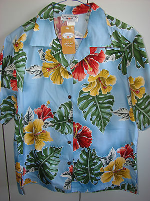 Pacific Legend  Wms Small  Hibiscus & Monstera on Blue/NWT