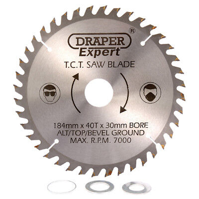 Draper Circular Mitre Saw Blade 184mm Diameter x 30mm Bore 40T 16mm 20mm Rings