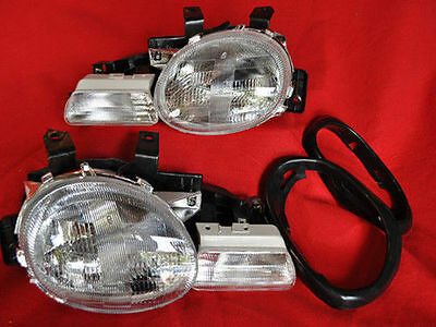 NEW 95-99 DODGE NEON 4PC W/GASKETS DIRECT REPLACEMENT HEADLAMPS HEADLIGHTS SET