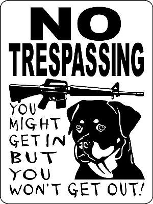 ROTTWEILER DOG SIGN GUARD  VINYL  Decal WARNING  NO TRESPASSING  NTROTT1