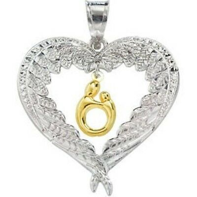 Womens Sterling Silver Heart Necklace Mothers Day Gift W Angel Wings Pendant 25M