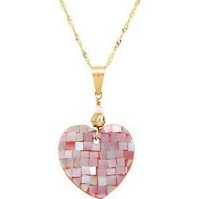 """Womens/Girls Pink Pearl Mosaic Heart Pendant 15"""" Necklace 14Kt Yellow Gold"""