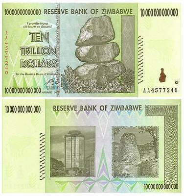 LOT OF 5 - 10 TRILLION $ ZIMBABWE NOTES BILLS MONEY w/ BCW CURRENCY SLEEVES