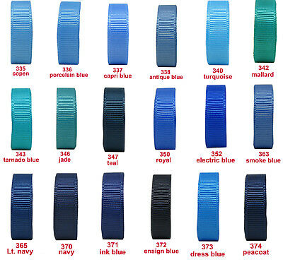 "5y-100y 25mm 1"" Turquoise Royal Navy Blue Premium Grosgrain Ribbon Eco Gift"