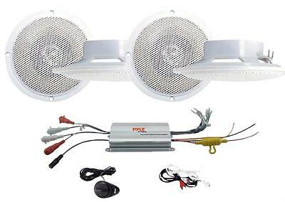 New Pyle 800W Waterproof Marine Boat Amp w/ MP3 Player Input +4 Speakers Package