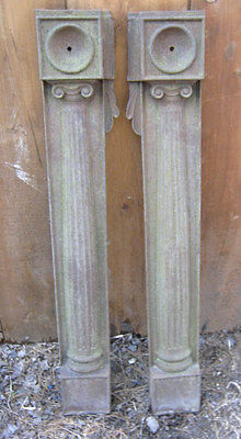 Antique Usa Architectural Garden Cast Iron Mantel Post Column Wall Panel Plaque