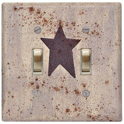 PRIMITIVE Ivory Distressed Country rustic Star double TOGGLE Switch plate cover