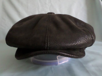 Men,s 8 Piece Black Faux Leather 8-Panel Newsboy  Baker Boy Cap S M L Xl Xxl