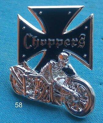 Choppers Skelett Bike Biker Eisernes Kreuz Motorrad Pin Anstecker Button # 58