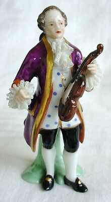 "Fine Quality Antique Dresden Violin Player Figurine 3"" Tall"