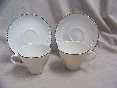 HARKER TRANSLUCENT CHINA WITH CREAM FLUTED EDGE & PLATINUM TRIM CUPS AND SAUCERS