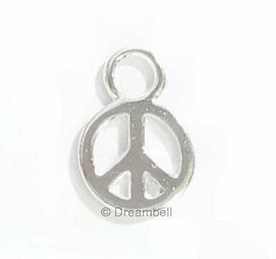 2x Bright Sterling Silver Little Peace Dangle Charm 10.5mm scp274w