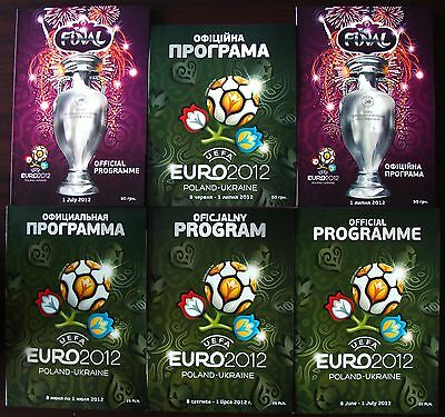 EURO 2012: Complete set of all 6 Official programmes!