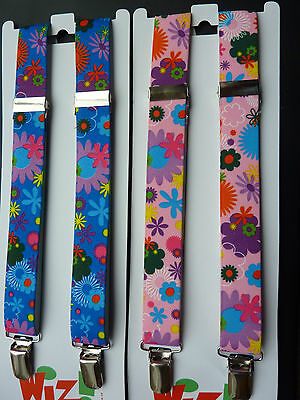 FUNKY FLORAL BRACES for BOYS/GIRLS/CHILDREN -PINK or BLUE -fit approx 1-6 years
