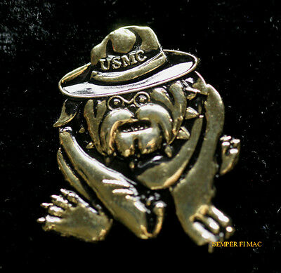 US MARINE BULLDOG MASCOT CHESTY GERMAN Teufel Hunden HAT PIN MAR DIV USS FMF MAW