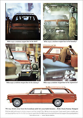 Pontiac 64 Tempest Station Wagon Retro A3 Poster Print From Advert 1964