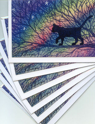 6 x cat greeting cards for any occasion or holiday  Starry night by Susan Alison