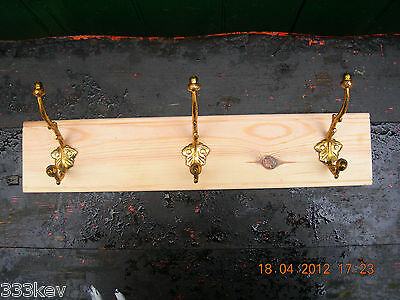 ~ 3 Repro.Victorian Acorn~Cast Brass Coat Hooks on  Pine Board~