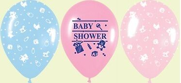 """10 Baby Shower Pink Blue Assorted Designs Helium Balloons 12"""" Decorator Quality"""