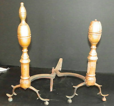 Pair Of Early Bronze Andirons 4785