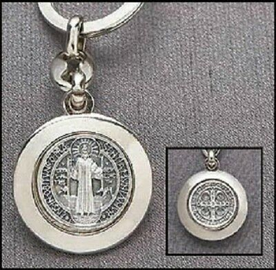 Silver Glid Catholic Travel Patron St Saint Benedict Keychain Pendant Medal Pray