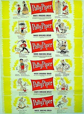 Vintage bread wrapper PATTY PIPER #2 dated 1958 Mother Hubbard new old stock