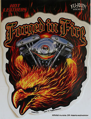 569363cc9844e Hot Leathers Forged In Fire Biker Sticker Decal Eagle To CUSTOMIZE Bike Tank