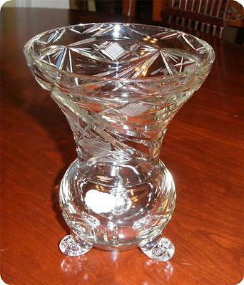Echt Kristall 3 Footed Cut Glass Vase