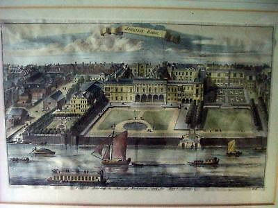 1755 Benjamin Cole  Hand-Colored Engraving, Old Somerset House, London