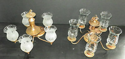 Lot Of Two 5 Arm Brass Lights With Antique Shades 4808