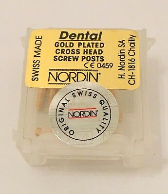 Dental Screw Post by * NORDIN * Refill of Kit 12 posts ( Gold ) Short  Size S4