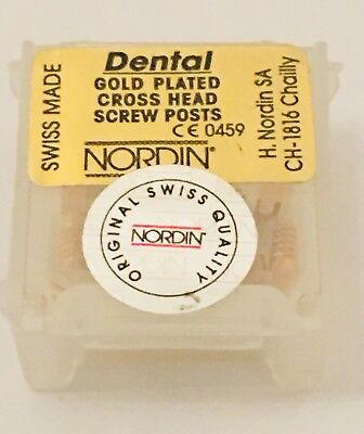 Dental Screw Post by * NORDIN * Refill of Kit 12 posts ( Gold ) Short  Size S6
