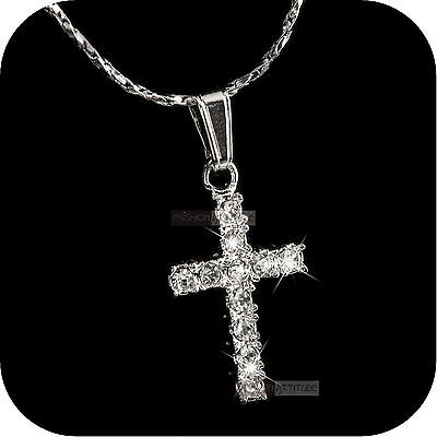pendant necklace 18k white gold gp made with SWAROVSKI crystal cross