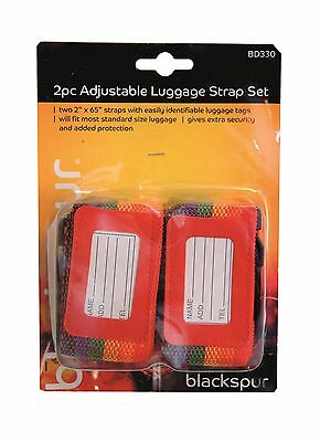 Adjustable Luggage Strap Nylon Easy Use Bag Belt With Name Tag 1 Pack/2 Pack