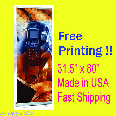 """Signage 31.5"""" x 80"""" Retractable Roll Up Display Free Printing & Shipping USA"""