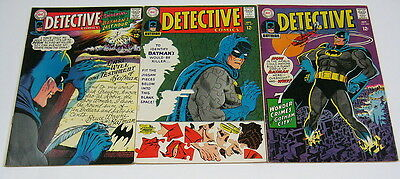 Detective #366,#367,#368 FN/VF 7.0 to FN 6.0 BATMAN & ROBIN DC COMICS 1967