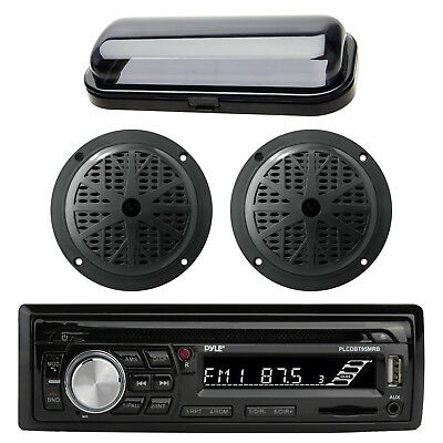 Pyle PLCDBT95 In Dash Marine Boat CD MP3 Player + Pair Speaker and Radio Cover